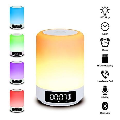 c8fa6004092 Beawelle Lámpara LED Luz de Noche Altavoz Bluetooth,todo-en-1 Portátiles  Altavoces