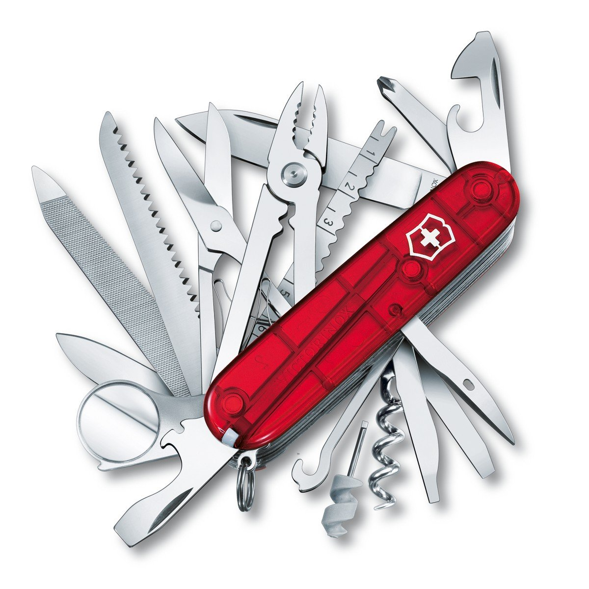 Victorinox Swiss Army Multi-Tool, SwissChamp Pocket Knife, Ruby