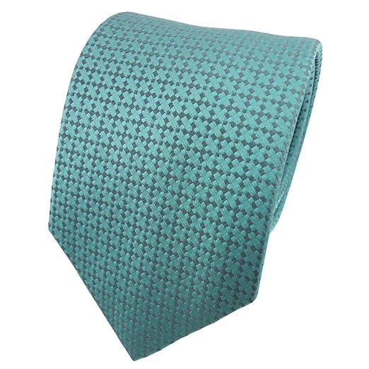 TigerTie diseñador corbata de seda de raso - turquesa azul ...