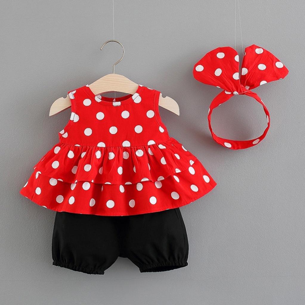 WARMSHOP Girls Summer Outfits Clothes Polka Dots Print Sleeveless Tops+Solid Shorts+Headband Clothes Set