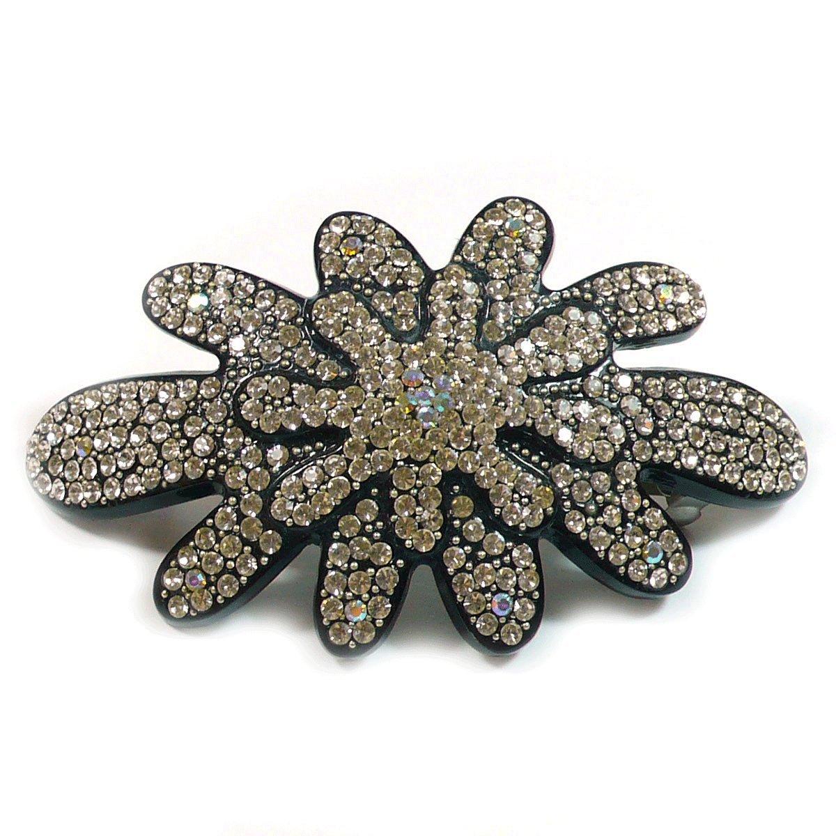 Teri's Boutique Women's Double Layer Flowers Clear Rhinestone Barette Hair Clip Pin Black
