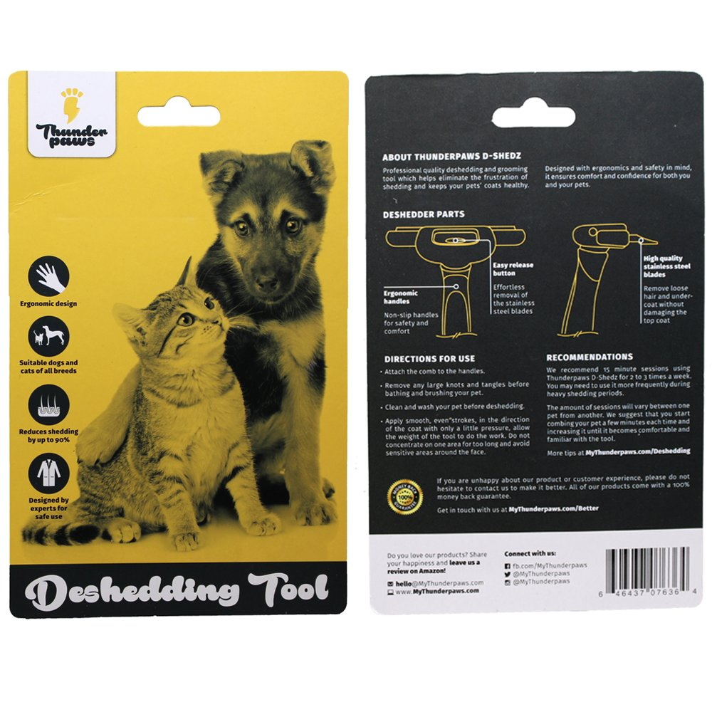 Thunderpaws best professional de shedding tool and pet grooming thunderpaws best professional de shedding tool and pet grooming brush d shedz for breeds of dogs cats with short or long hair small medium and large solutioingenieria