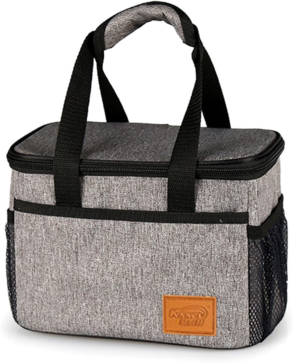 Welluse 6 Can Insulated Lunch Cooler- Freezer Safe, Side Pockets-Gray
