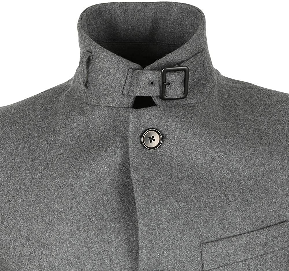 48 J.Lindeberg Mens Classic Wool Melton Coat Dark Grey Melange