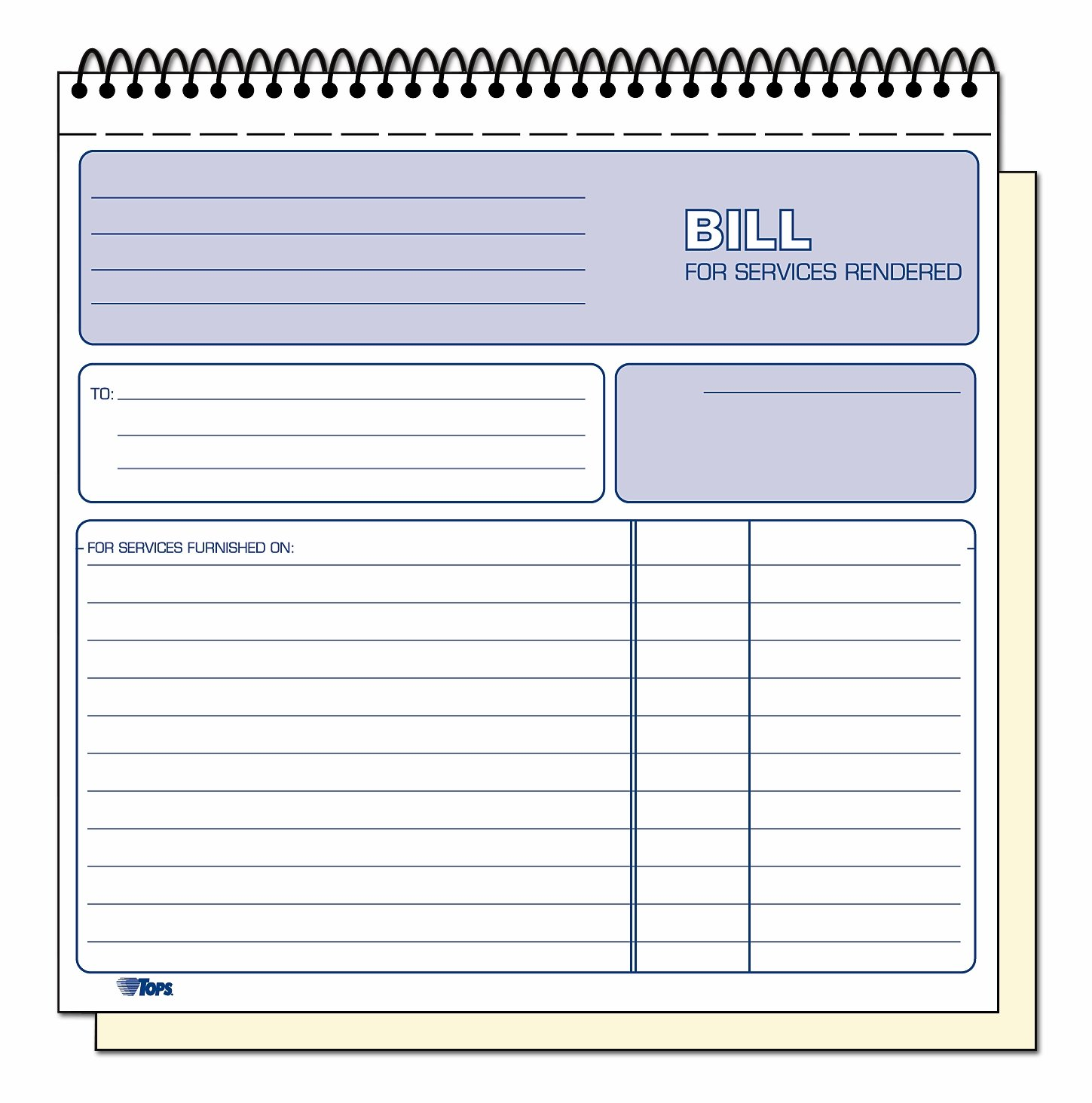 com tops part carbonless bill for services rendered book com tops 2 part carbonless bill for services rendered book 8 5 x 8 25 inches 50 sheets white 4133 office products