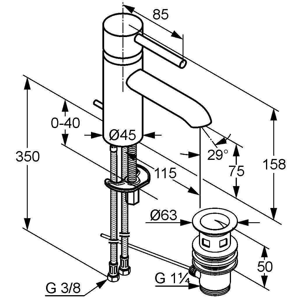 Kludi Bozz 382910576 Waschtisch-Einhebelmischer mit Ablaufgarnitur chrom