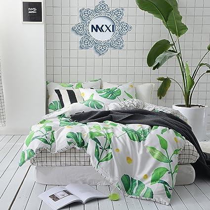 Amazoncom Mkxi Soft Cotton Reversible Duvet Cover White Green Leaf