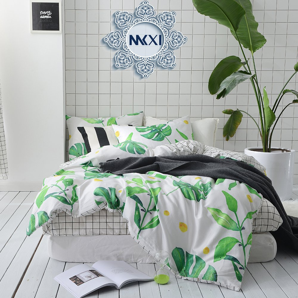 MKXI Garden Bedding Set Kids Twin Size Soft Cotton Reversible Duvet Cover White Green Leaf Botanical Style
