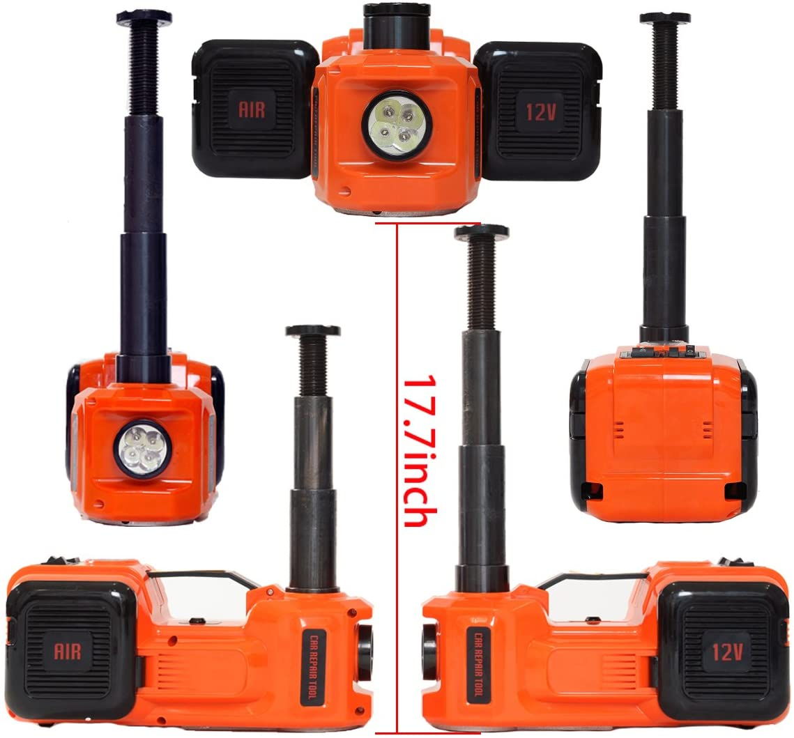 11000lb MarchInn 12V DC 5.0T Electric Hydraulic Floor Jack and Tire Inflator Pump and LED Flashlight 3 in 1 Set with Electric Impact Wrench Car Repair Tool Kit
