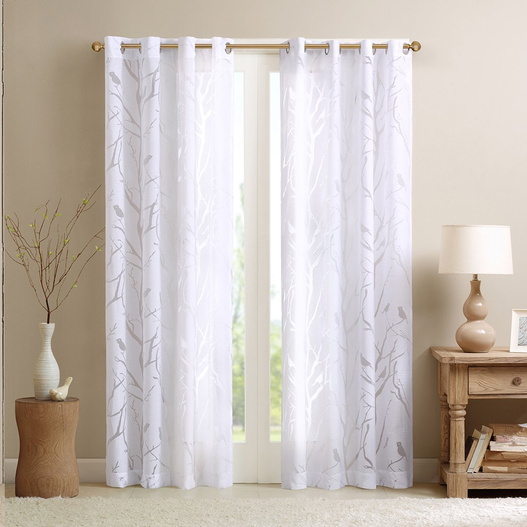 White window curtains - Amazon Com Madison Park Averil Sheer Bird Window Curtain White 84 Panel Home Kitchen