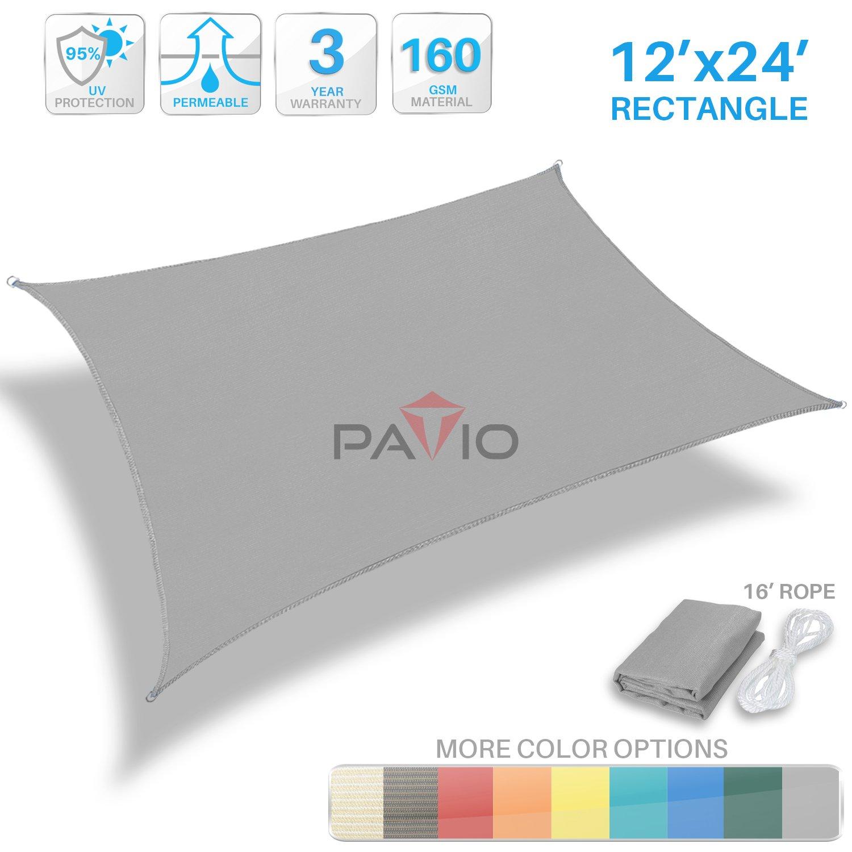 Patio Paradise 12' x 24' Light Grey Sun Shade Sail Rectangle Square Canopy - Permeable UV Block Fabric Durable Patio Outdoor - Customized Available