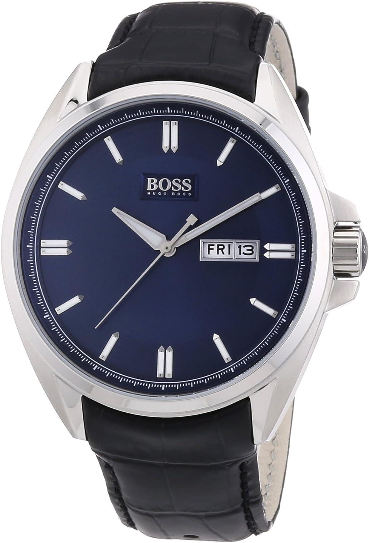 Hugo Boss 1512877 - Reloj analógico de Cuarzo para Hombre, Correa de Cuero Color Negro