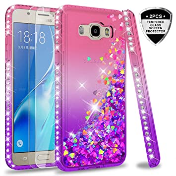 b6d9716bccb LeYi Compatible with Funda Samsung Galaxy J5 2016 Silicona Purpurina  Carcasa con [2-Unidades Cristal Vidrio Templado],Transparente Cristal  Bumper Telefono ...