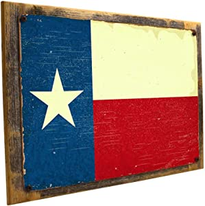 OMSC Framed Texas Flag Metal Sign Mounted on Rustic, Weathered Wood