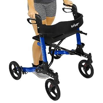 Vive Folding Rollator Walker - 4 Wheel Medical Rolling Walker with Seat & Bag - Mobility
