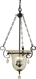 "product image for Framburg 2919 MB Carcassonne 3-Light Pendant with Clear Water Glass and Clear Crystal Accents, 18"" x 18"" x 32"", Mahogany Bronze"
