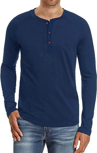 Camisas Henley de manga larga para hombre – Blusa informal sólida con botones a la moda