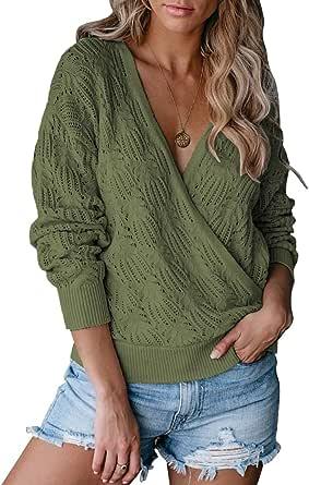 MEROKEETY Womens Deep V Neck Wrap Sweaters Long Sleeve Crochet Knit Pullover Tops