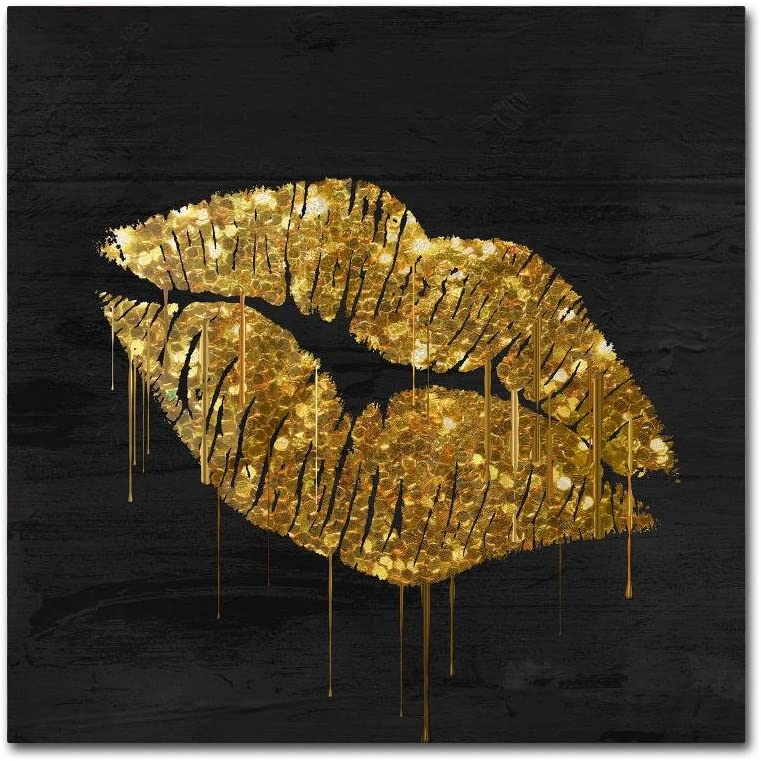 Gold Ornate Frameen Lips by Color Bakery, 14x14-Inch Canvas Wall Art