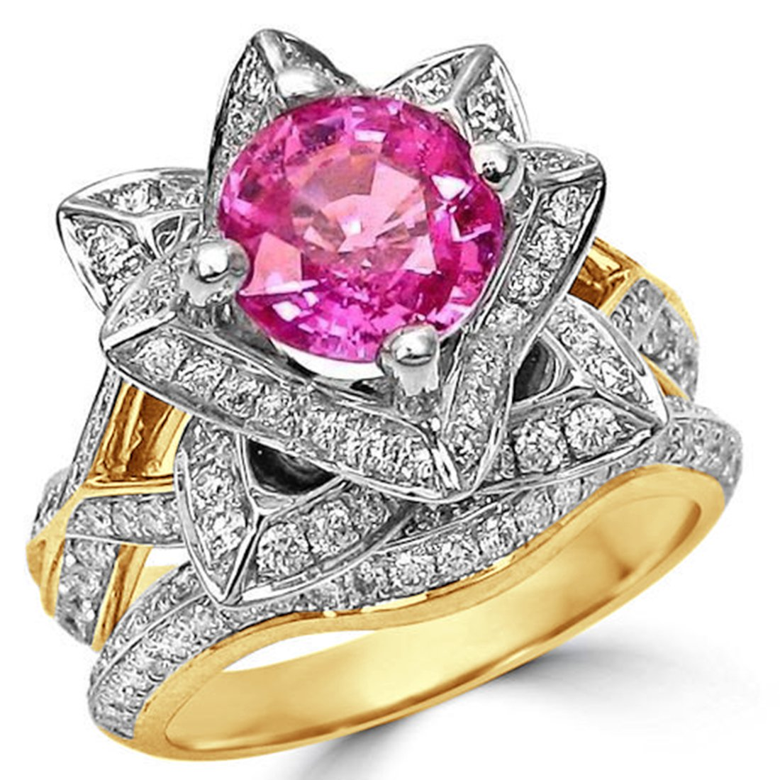 Smjewels 2.37 Ct Round Pink Sapphire Lotus Flower CZ Diamond Ring Bridal Set In Yellow Gold Fn