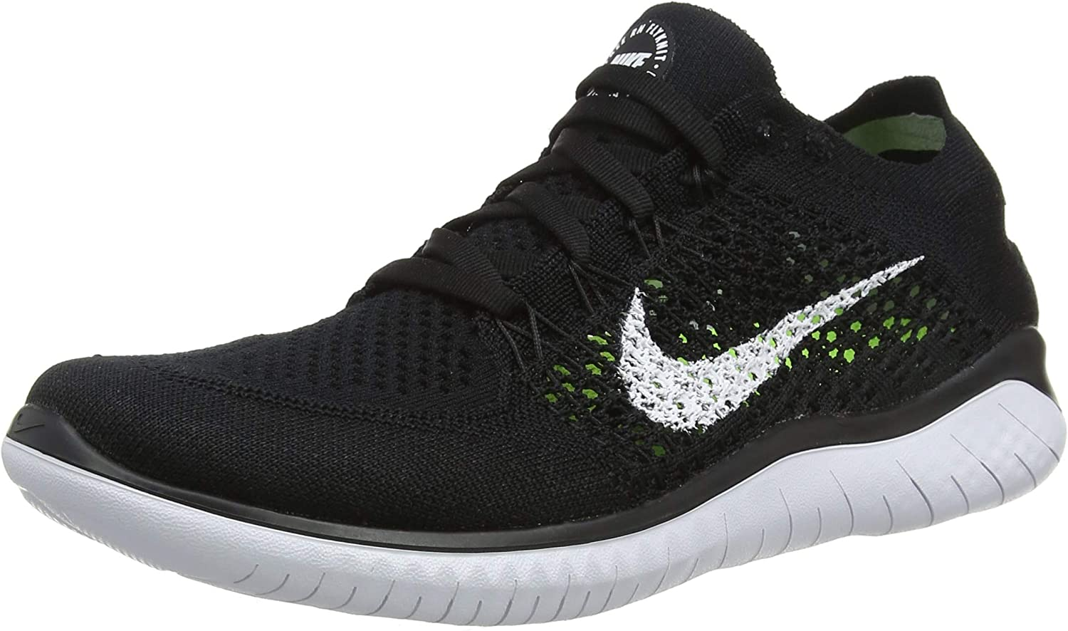 Nike Womens Free Rn Flyknit 2018 Low Top Lace Up Running, Black White, Size 8.0