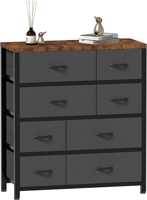 Wnutrees 8 Drawer Dresser Organizer Fabric Storage Chest, Functional Organizer Unit for Closets, Bedroom, Hallway, Nurseries, Storage Tower Sturdy Steel Frame, Wood Top, Removable Fabric Bins, Grey