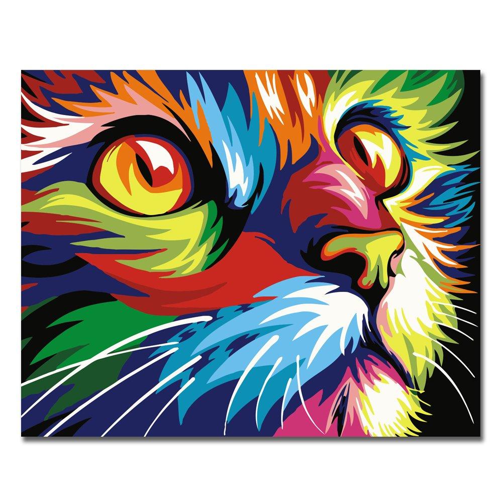 Rihe Pintura por n/úmeros DIY marco de madera al /óleo gato o tigre para adultos principiantes decoraci/ón del hogar Con marco de madera Gato tigre o