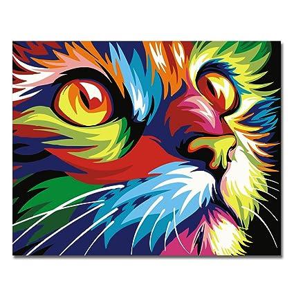 Sin marco, Pintura por números Bricolaje DIY Pintura al óleo vistoso Cara de gato Impresión