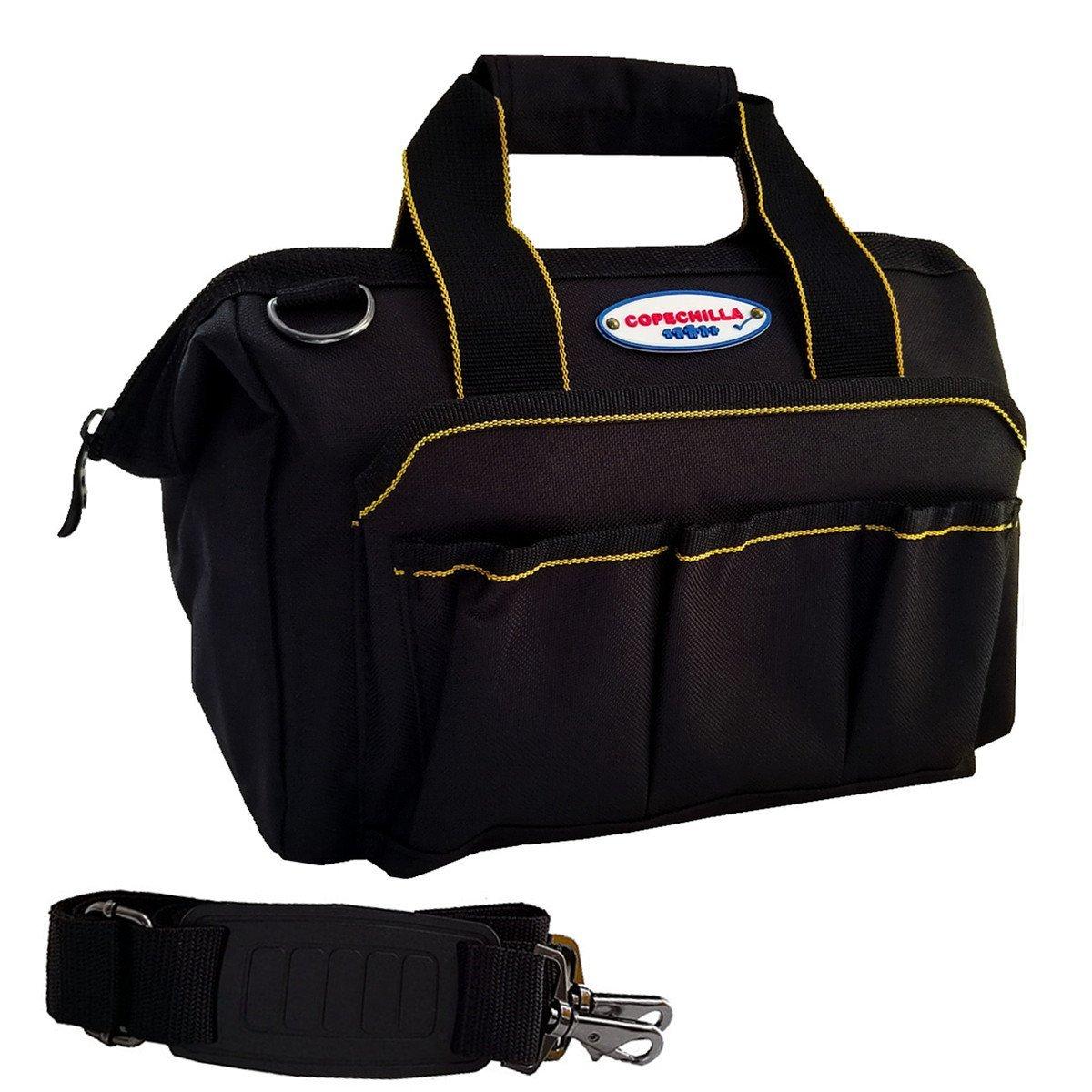 COPECHILLA sac a outil electricien professionnel avec ceinture ré glable et poigné e,sac de rangement outils impermé ables material 600D Oxford canvas,12 inch,pour technicien,famille, dans la voiture