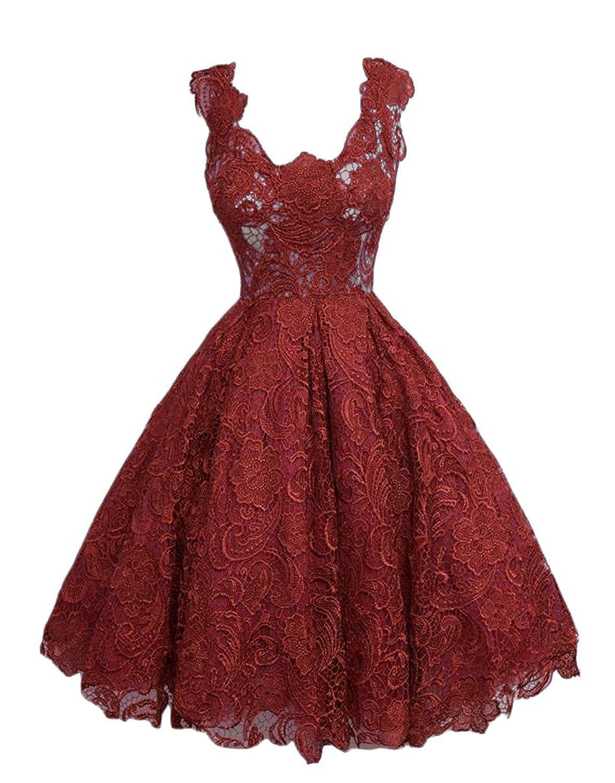 Burgundy Caissen Women's Knee Length Lace Appliques Satin Ball Gown Square Neck Zipper Cocktail Dress Party Wear Dance Gown