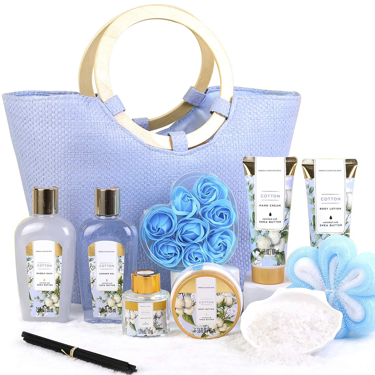 Christmas Gift Set for Women- 10pcs Cotton Scent Gift Box in Exquisite Tote Bag, Shower Gel, Bath Salts, Reed Diffuser, Best Gift Baskets for Women's Valentine, Birthday : Beauty