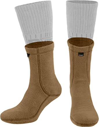 281Z Outdoor Warm 6 inch Liners Boot Socks - Military Tactical Hiking Sport - Polartec Fleece Winter Socks (Coyote Brown)