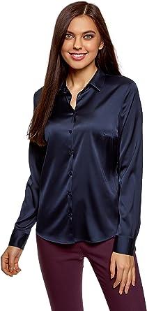 oodji Collection Mujer Blusa Entallada de Tejido de Raso, Azul, ES 46 / XXL: Amazon.es: Ropa y accesorios