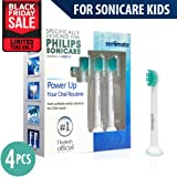 BLACK FRIDAY DEAL! Replacement Toothbrush Heads Generic Philips Sonicare for Kids 4 Pcs Fit for HX6032 HX6042 HX6311 HX6320 HX6321 HX6322 HX6330 HX6340 HX6341 HX6342 HX6362 HX6381 HX6382 HX6391 HX6392