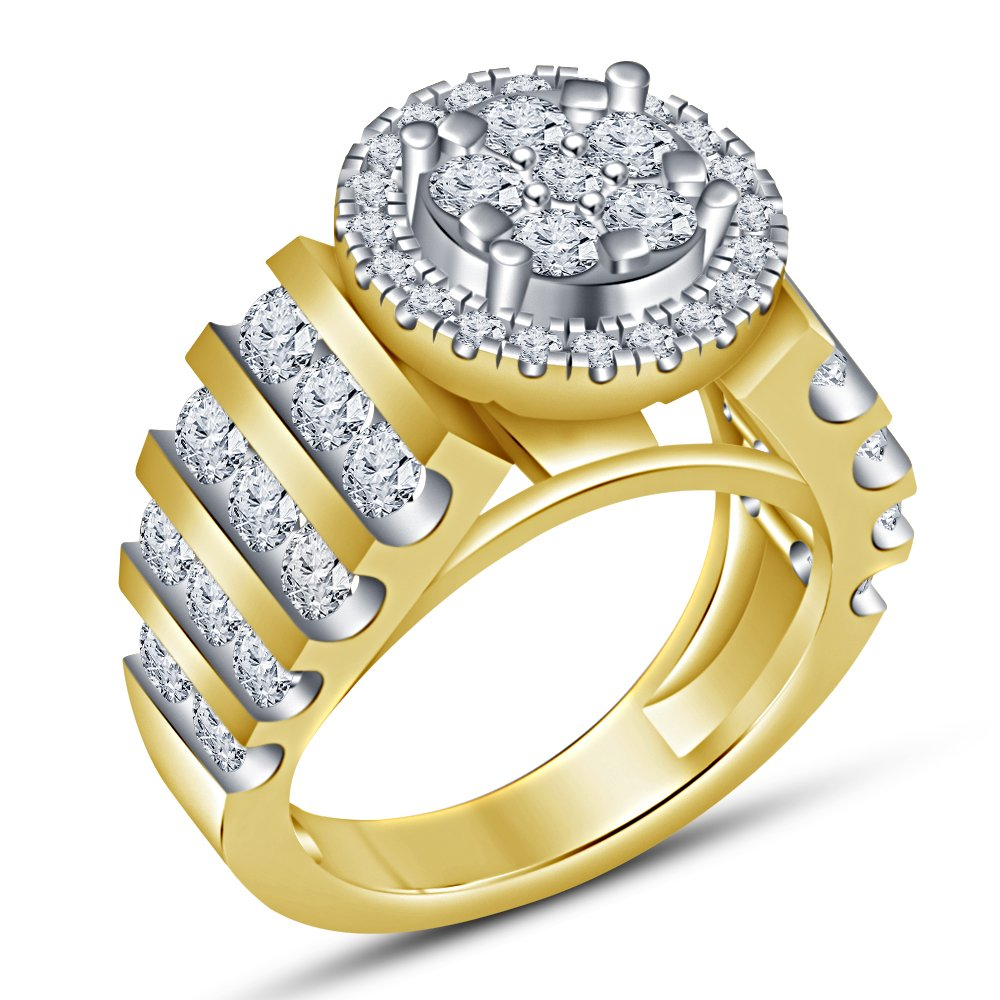 U 1 2 Vorra Fashion Brilliant Round Cut White Cubic Zirconia Promise Forever Engagement Ring For Women's