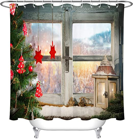 Rustic Wooden Wall Red Truck Christmas Tree Shower Curtain Set Bathroom Decor