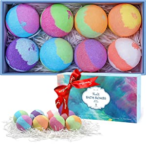 Bath Bombs Gift Set, 8 Multi-Colored Vegan Bath Bomb Kit in Luxurious Gift Box with Organic Essential Oils for Christmas, Exclusive Floating Fizzies with Rich Bubbles-Bath Bombs For Girls