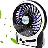 Mini Fan USB,Etmury USB Rechargeable Desk Fan,Battery Powered Portable Fan with LED Light 3 Speeds Small Quiet Travel Fan for Home,Office,Bedroom,Camping,Hiking