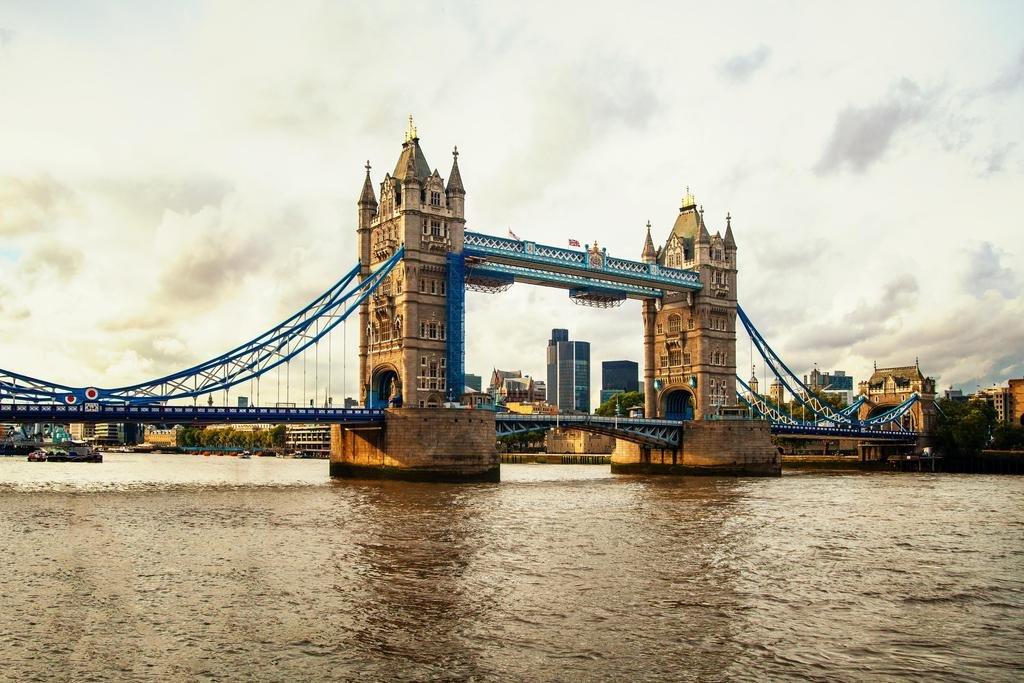 Tower Bridge Thames River in London England UK Photo Art Print Framed Poster 20x14 inch