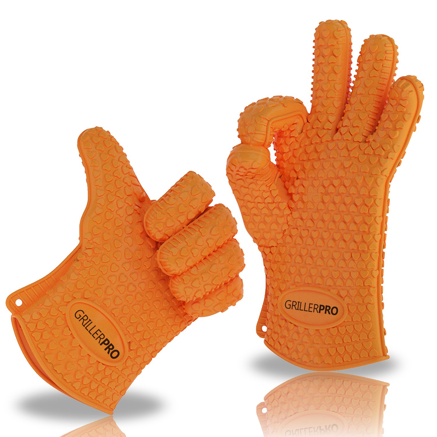 Griller PRO Silicone Gloves - Heat Resistant Oven Mitts, Pot Holders and BBQ Grill Gloves - For Grilling, Baking & Barbecue - Lifetime Guarantee