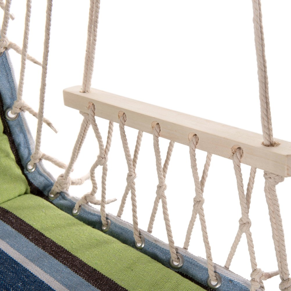 PG PRIME GARDEN Hanging Rope Chair Cotton Padded Swing Chair Hammock Seat for Indoor or Outdoor Spaces-Light Blue/& Green Stripe PGQHC009