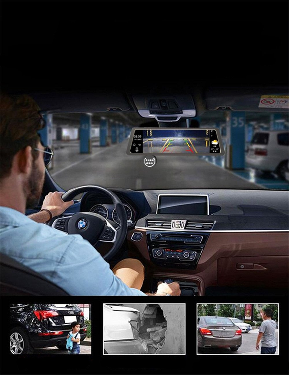 4G Car Dash Cam 10.0'' Touch GPS Navigation WIFI Bluetooth Dual Lens Rearview Mirror Camera Android 5.1 Vehicle Video Recorder with Night Vision, 170-degree Wide Angle Lens with G-Senor by sunray (Image #3)