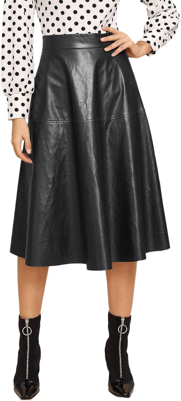 WDIRARA Women's Vintage High Waist Flared Skirt Midi PU Skirt