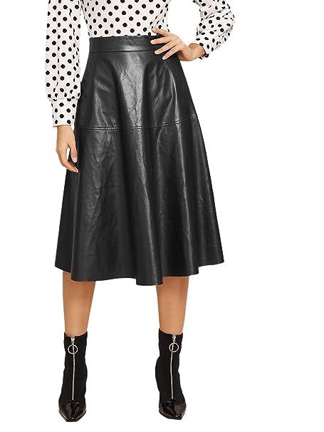 b30f44e8d81 WDIRARA Women s Vintage High Waist Flared Skirt Midi PU Skirt Black XS