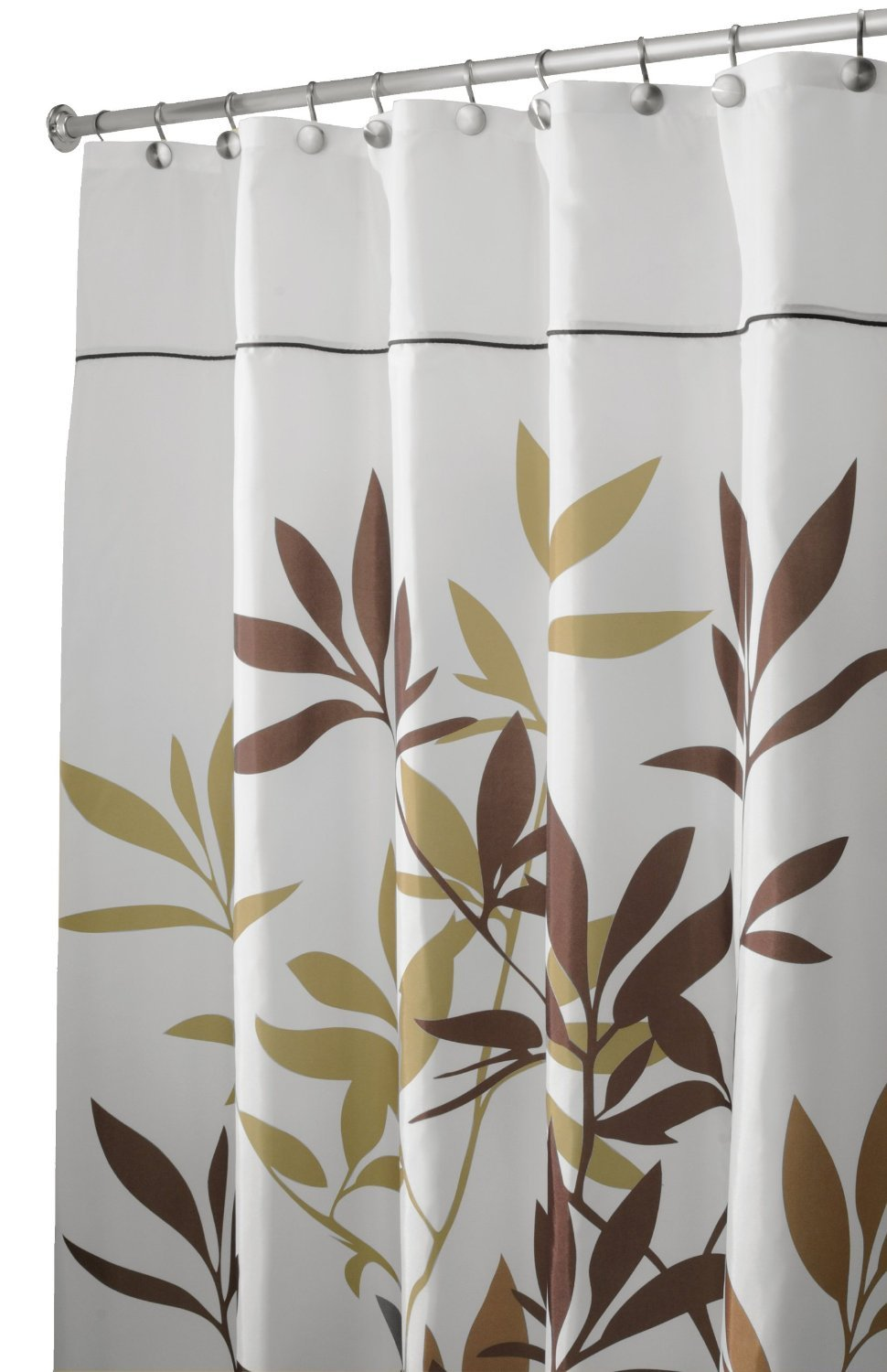 Amazon.com: InterDesign 35640 Leaves Fabric Shower Curtain ...