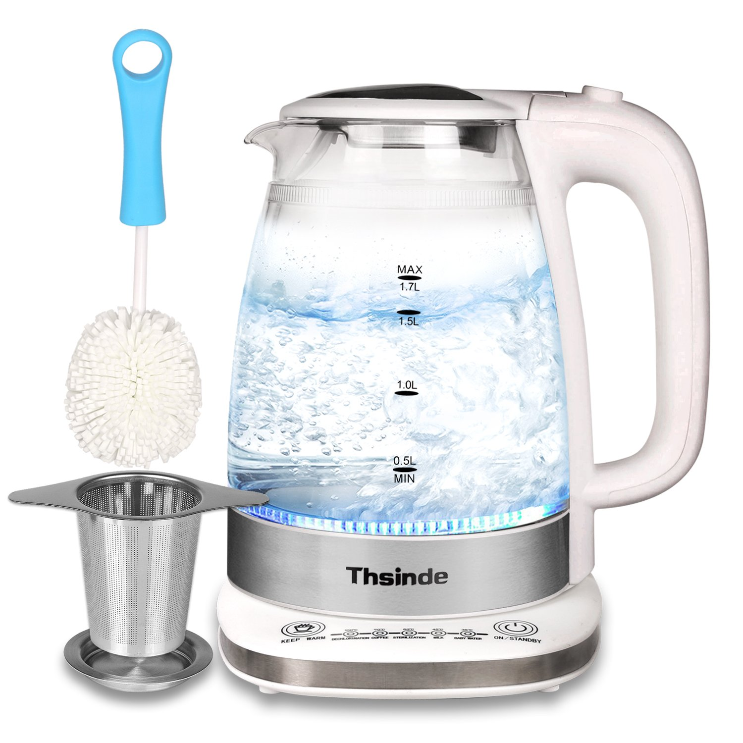 Electric Kettle,Thsinde Double Wall Tea Kettle 1.7L (BPA Free) Temperature Control Intelligent Glass Kettle