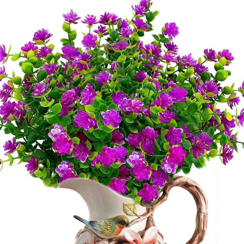 ELINSON 8 Bundles Artificial Flowers Outdoor UV Resistant Fake Plastic Plants Faux Greenery Shrubs Indoor Outside Hanging Planter Home Kitchen Office Wedding Garden Décor (Fuchsia/8pcs)