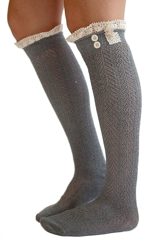Kearia Women Crochet Knitted Lace Trim Knee High Boot Cover Leg Warmers Socks KY-405