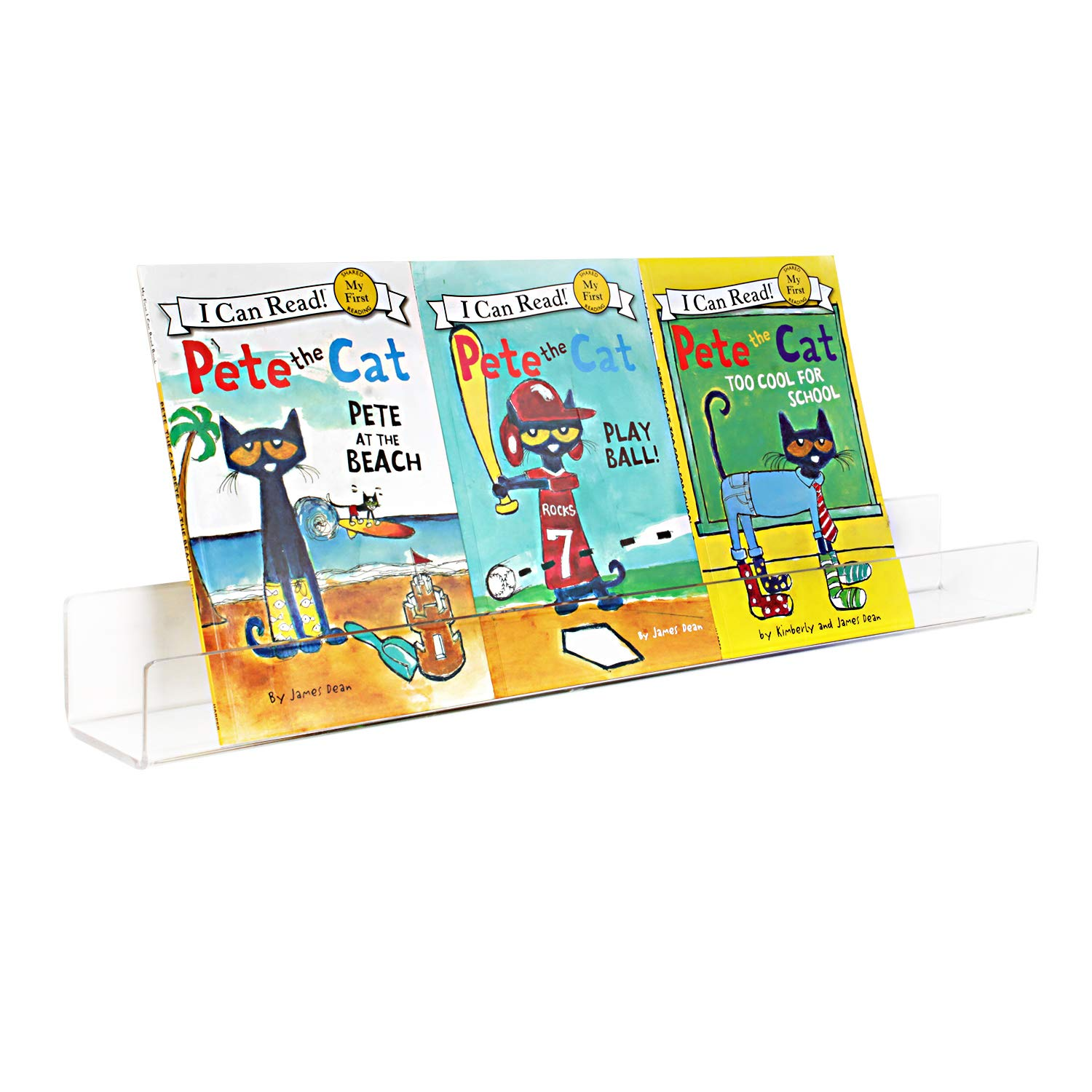Acrylic Invisible Kids Floating Bookshelves 2 Pack - 5mm Thick, Free Screw Driver - 3 Lengths: 16.5/24/36 Inch Wall Mounted Floating Ledge Shelf; Perfect for displaying books (16.5 inch 1 Pack, 5mm Thick) NIUBEE