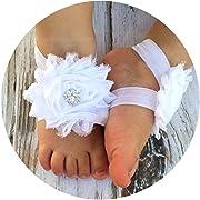 Miugle Baby Shabby Chic Flower Barefoot Sandals,White